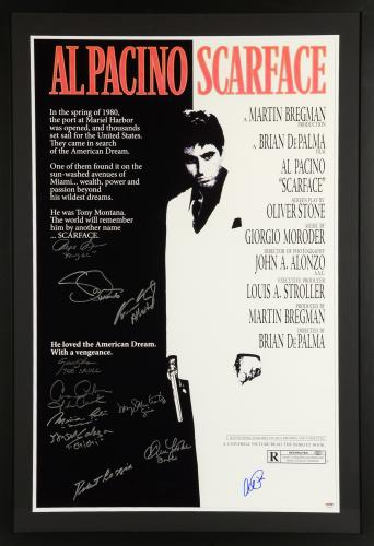 "Scarface Framed Autographed 30"" x 40"" Movie Poster with 11 Signatures – PSA LOA"