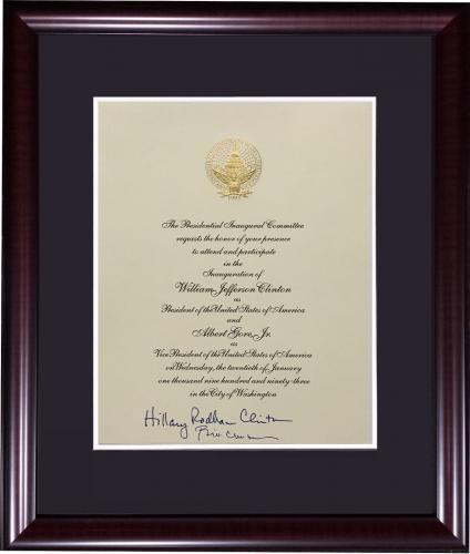 Hillary Bill Clinton signed 1993 President inauguration invitation auto psa coa