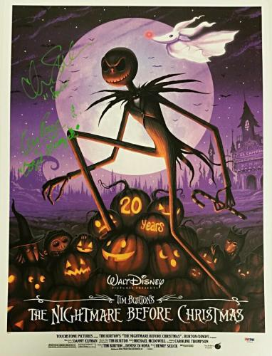 Chris Sarandon + Ken Page Signed 18x24 Nightmare Before Xmas LE Litho Green PSA