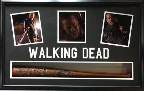 Jeffrey Dean Morgan Negan Walking Dead signed Bat photo collage framed auto JSA