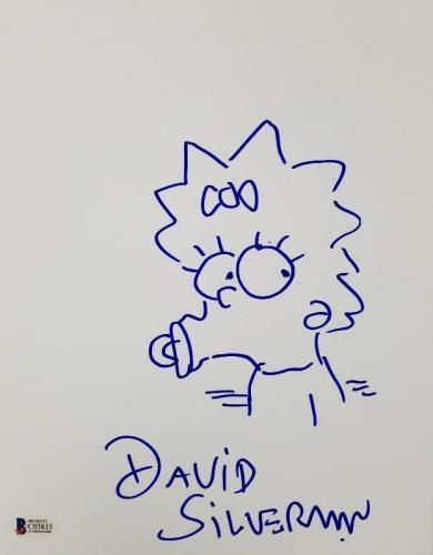 DAVID SILVERMAN Signed 8.5 x 11 Hand Sketch The Simpsons Maggie Beckett BAS COA
