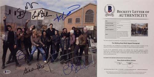 Nicotero/Dickerson/Kirkman/McBride +6 Signed The Walking Dead 11x14 Photo BAS