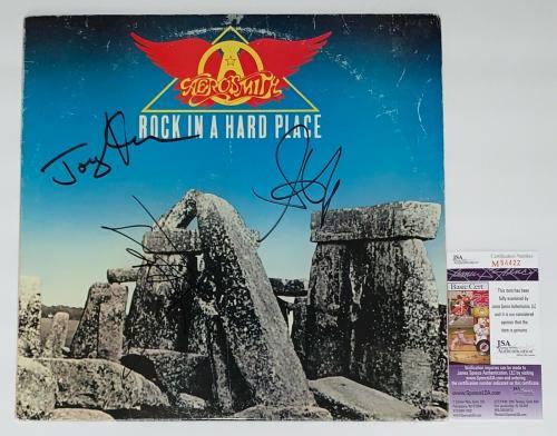 Steven Tyler Joey Kramer Tom Hamilton Signed Aerosmith Rock In A Hard Place Jsa
