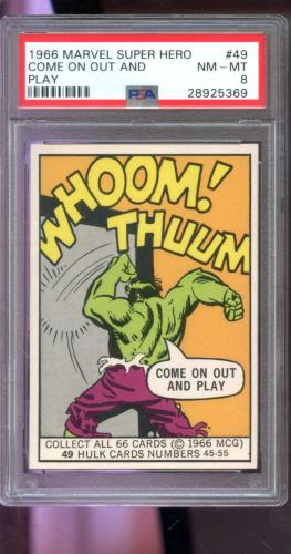 1966 Marvel Super Heroes MCG #49 Incredible Hulk Come on Out And Play Card PSA 8