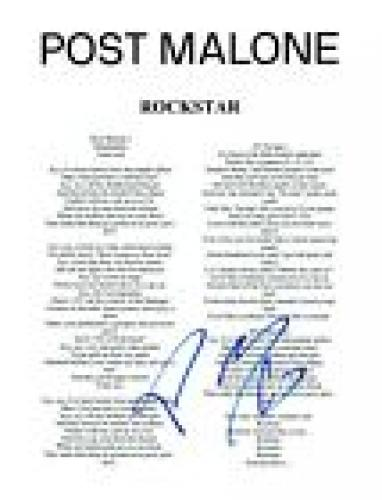 Post Malone Signed Autographed ROCKSTAR Song Lyric Sheet Proof + COA