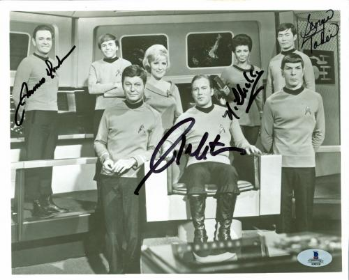 Star Trek (4) Shatner, Nichols, Takei +1 Signed 8x10 Vintage Photo BAS #A00318