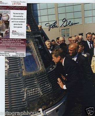 Astronaut John Glenn Signed Autographed Color Photo With John F Kennedy Jsa Coa