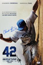 42 Cast (2) Harrison Ford & Chadwick Boseman Signed 12x18 Photo PSA/DNA #Z03367