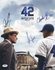42- Harrison Ford, Chadwick Boseman +1 Signed 11X14 Photo PSA #U01338