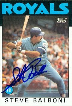 Steve Balboni autographed Baseball Card (Kansas City Royals) 1986 Topps #164