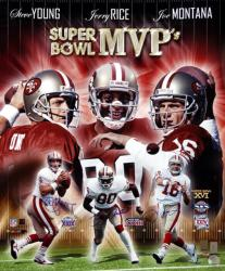 San Francisco 49ers Joe Montana, Jerry Rice & Steve Young Super Bowl MVP's Collage Autographed 16'' x 20'' Photo - Mounted Memories