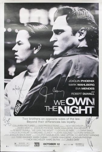 (5) Duvall, Wahlberg, Phoenix & Mendes Signed 27x40 We Own The Night Poster BAS
