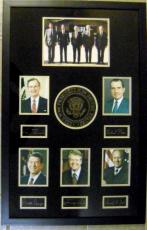 5 Presidents of the United States framed and matted laser signatures Ronald Regan, Ford, Nixon, Carter, Bush 23x34