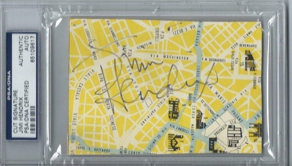 Jimi Hendrix Signed Autograph Italian Map Psa/dna Slabbed