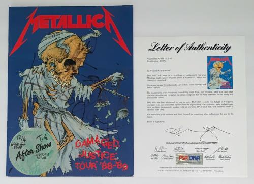 Metallica X4 James Hetfield Kirk Lars & Jason Signed Damaged Justice Program Psa