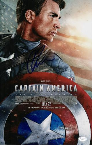 Chris Evans Signed Captain America 11x17 Movie Poster Jsa Coa N71923