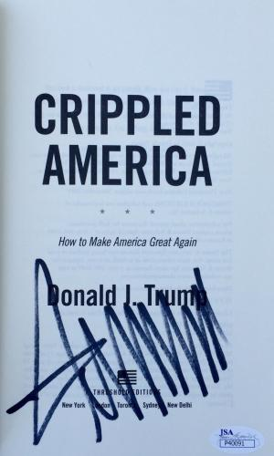 Donald Trump (Crippled America) Signed Hardback Book Jsa P40091