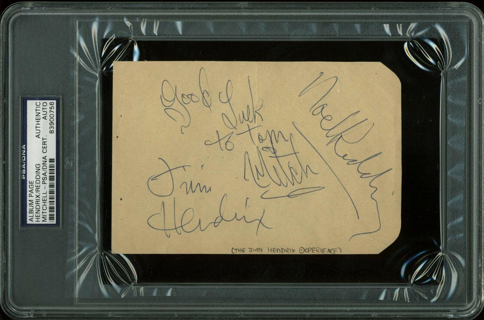 Jimi Hendrix Experience (Hendrix, Mitchell & Redding) Signed 4x6 Album Page PSA