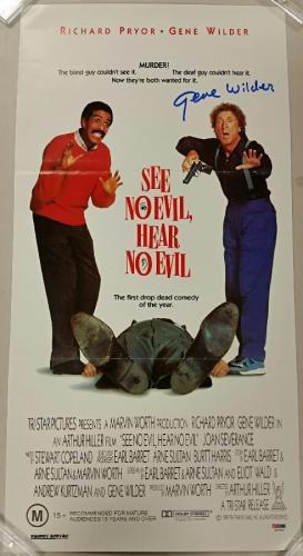 GENE WILDER Signed SEE NO EVIL, HEAR NO EVIL 13x26 Original Movie Poster PSA/DNA