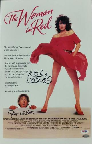 GENE WILDER and KELLY LEBROCK Signed 11x17 Photo The Woman in Red Auto PSA/DNA