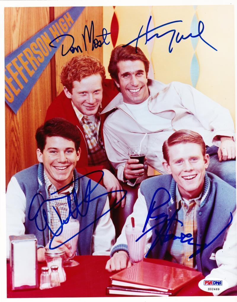 Happy Days Cast Signed 8x10 Photo Autograph Ron Howard Henry Winkler +2 Psa Loa