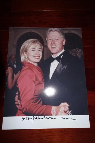 President Bill Clinton & Hillary Clinton Signed Autographed 11x14 Photo Jsa Coa