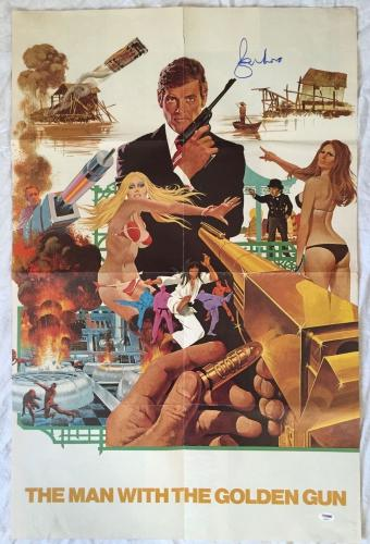 ROGER MOORE Signed JAMES BOND 22x33 Man With The Golden Gun Movie Poster PSA COA