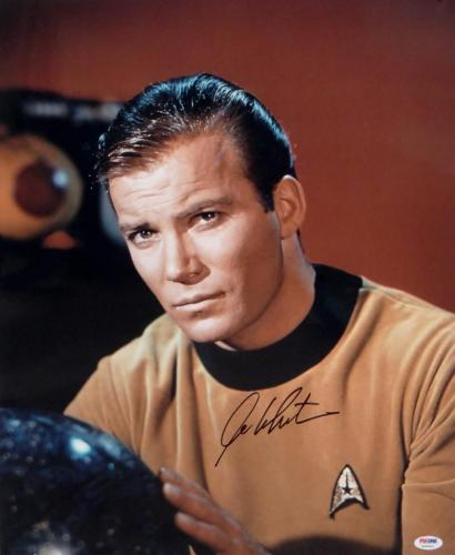 William Shatner Signed Star Trek 16x20 Up Close with Globe *Blk Photo-PSA Auth