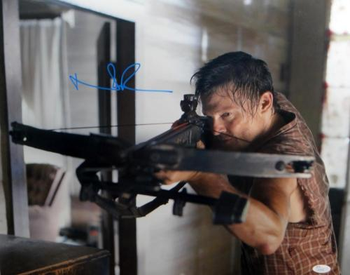 Norman Reedus Signed Walking Dead 16x20 Crossbow Plaid Shirt Photo- JSA Auth