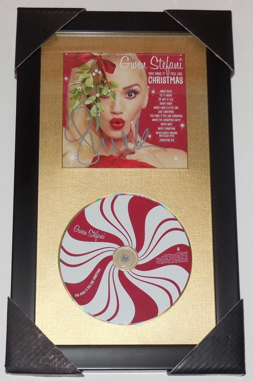 Gwen Stefani Christmas Cd.Gwen Stefani Autographed Christmas Cd Cover Framed