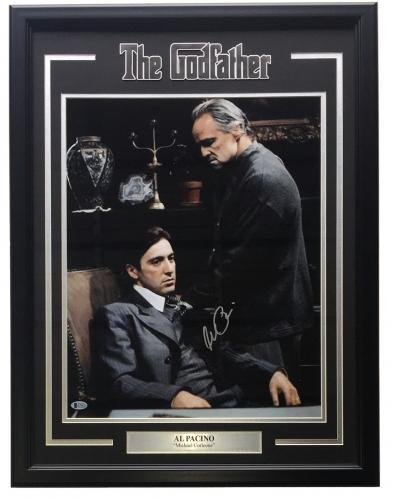 Al Pacino Signed Framed 16x20 The Godfather w/ Marlon Brando Photo Beckett BAS