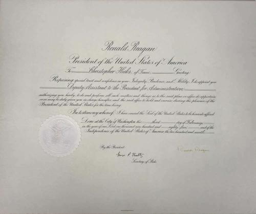 Ronald Reagan Signed Autographed Presidential Appointment 1985 JSA Authentic