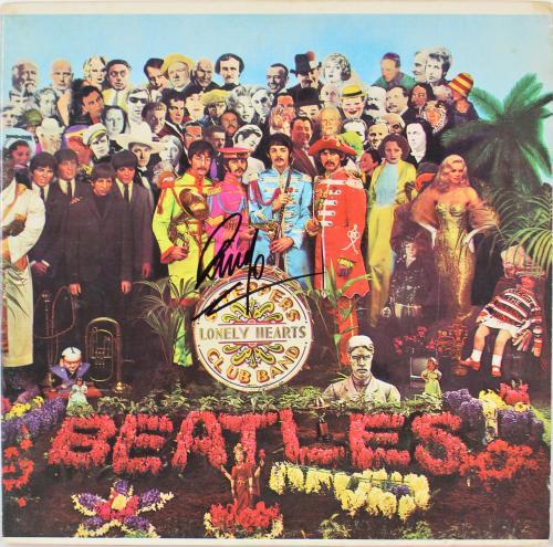 Ringo Starr The Beatles Signed Sgt. Pepper's Album Cover W/ Vinyl BAS #A70464