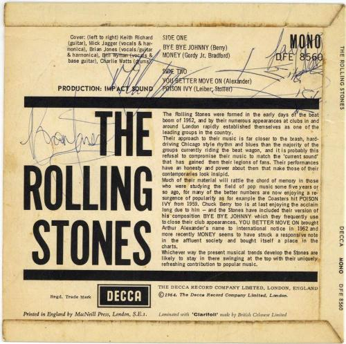 The Rolling Stones Signed Autographed 45 Debut EP Jones Jagger Beckett BAS