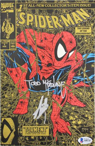 Stan Lee & Todd McFarlane Signed Spider-Man Torment 1990 Gold Comic BAS #88741
