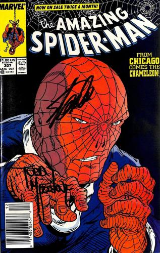 Stan Lee & Todd McFarlane Signed The Amazing Spider-Man #307 Comic BAS #E35324