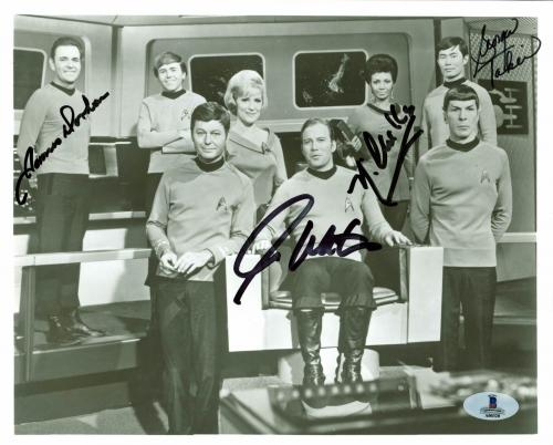 Star Trek (4) Shatner, Nichols, Takei +1 Signed 8x10 Vintage Photo BAS #A00320