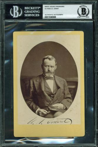 Ulysses S. Grant Signed 3.75x5.5 White House Engraving Photo BAS Slabbed