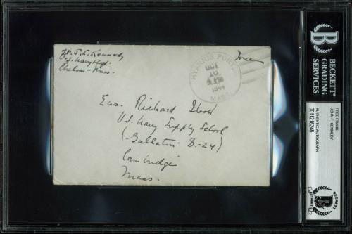 John F. Kennedy Signed 3x5.5 Handwritten 1944 Free Frank BAS Slabbed