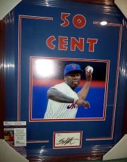 50 Cent Music Legend Ny Mets 1st Pitch Signed Double Matted Framed Jsa Coa Rare