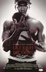 50 Cent Signed Get Rich Or Die Tryin' 11x17 Movie Poster Jsa Coa N37864