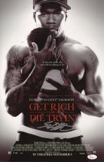 50 Cent Signed Get Rich Or Die Tryin' 11x17 Movie Poster Jsa Coa N37865