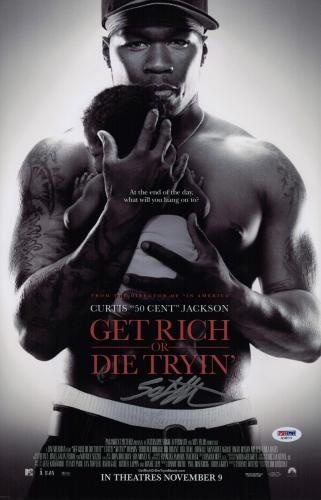 50 Cent Signed Get Rich Or Die Tryin' 11x17 Movie Poster Psa Coa Ad48114