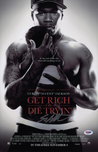 50 Cent Signed Get Rich Or Die Tryin' 11x17 Movie Poster Psa Coa Ad48115