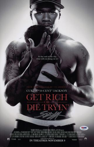 50 Cent Signed Get Rich Or Die Tryin' 11x17 Movie Poster Psa Coa Ad48119