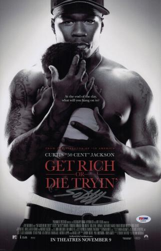 50 Cent Signed Get Rich Or Die Tryin' 11x17 Movie Poster Psa Coa Ad48120