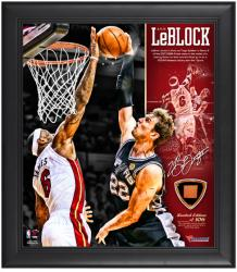 Miami Heat LeBron James 2013 NBA Finals Game 2 The Block Framed 15'' x 17'' Framed Collage with Game-Used Ball Piece - Mounted Memories