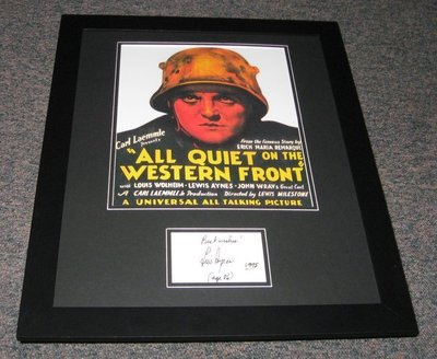 Lew Ayres Signed Framed All Quiet on the Western Front 16x20 Photo Display JSA