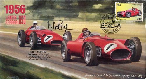 Nick Mason Hand Signed Racing Fdc    1956 Grand Prix   Rare    Pink Floyd    Jsa