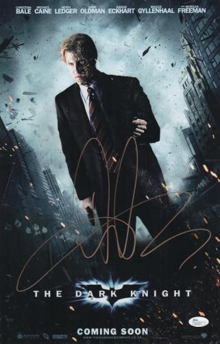 Aaron Eckhart Signed The Dark Knight 11x17 Movie Poster Jsa Coa N37877